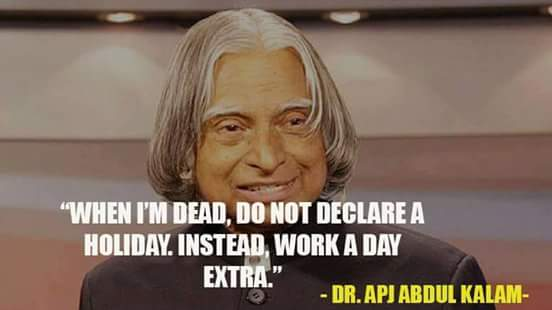 Apj abdul kalam death day celebrated as extra work day